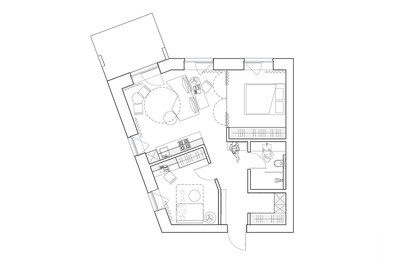 Funkcionalus lengvumas - privataus interjero projektas planas