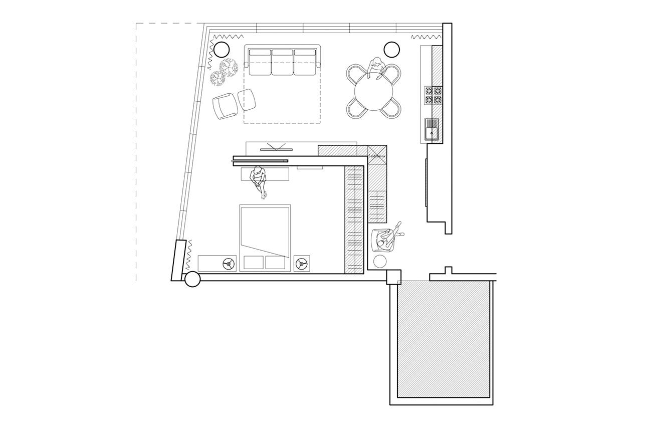Šviesų lengvumas - privataus interjero projektas planas