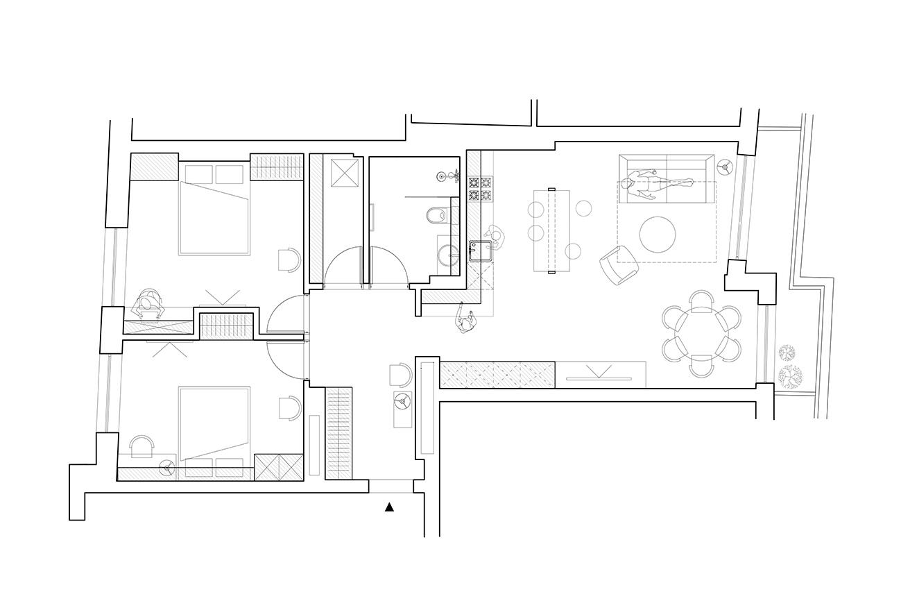 Jaunatviškas minimalizmas - privataus interjero projektas planas