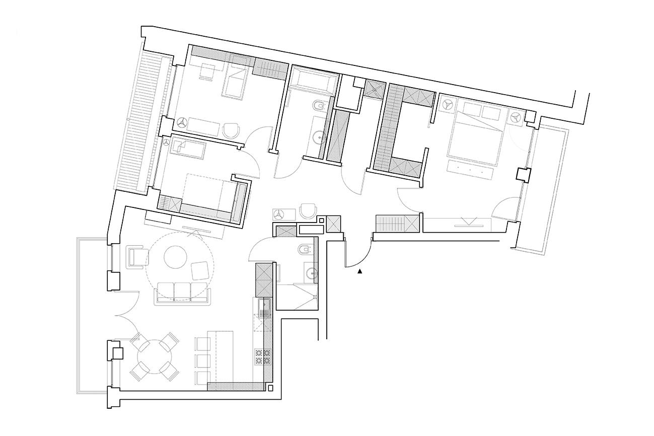 Santūrus modernumas - privataus interjero projektas planas
